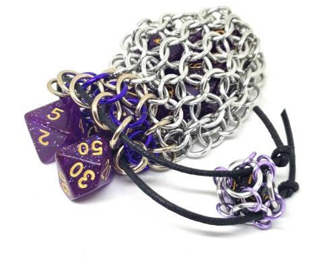 Purple and  Tan Single Set Chainmaille Dice Bag - Dicebag -  Handmade - Chainmail
