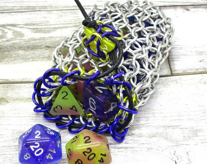 Purple and Yellow Accent Silver Chainmaille Dice Bag -  Double Set Bag