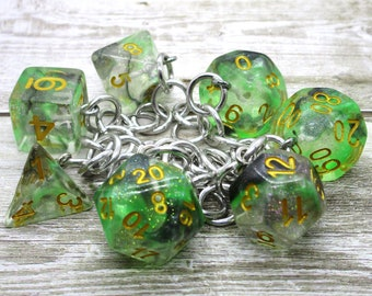 Luminous Venom Polyhedral Dice Set Charm Bracelet - Dungeons and Dragons  Dice - DnD Dice