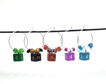Mini D6 Beaded Stitch Markers - Set of 5 - Wine Glass Charms