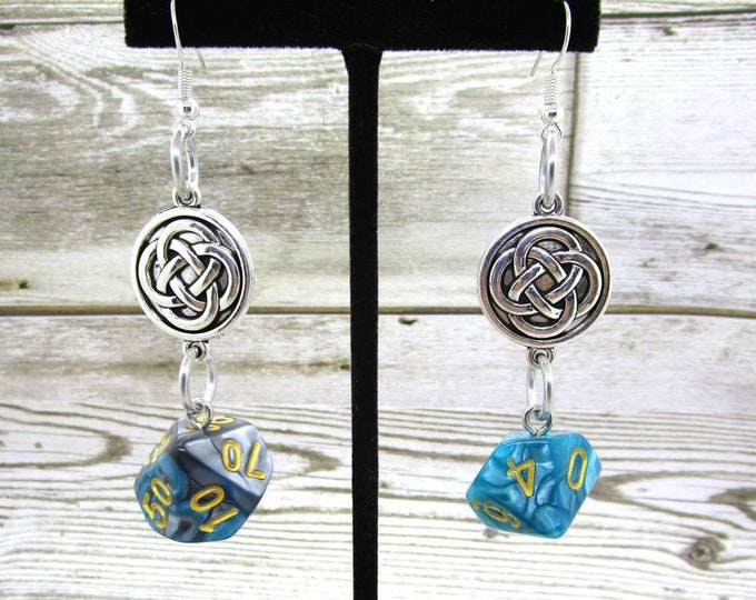 Teal Steel Celtic Charm Dice Earrings - D10 and D% Earrings - D&D Earrings - DND Earrings - DnD Dice