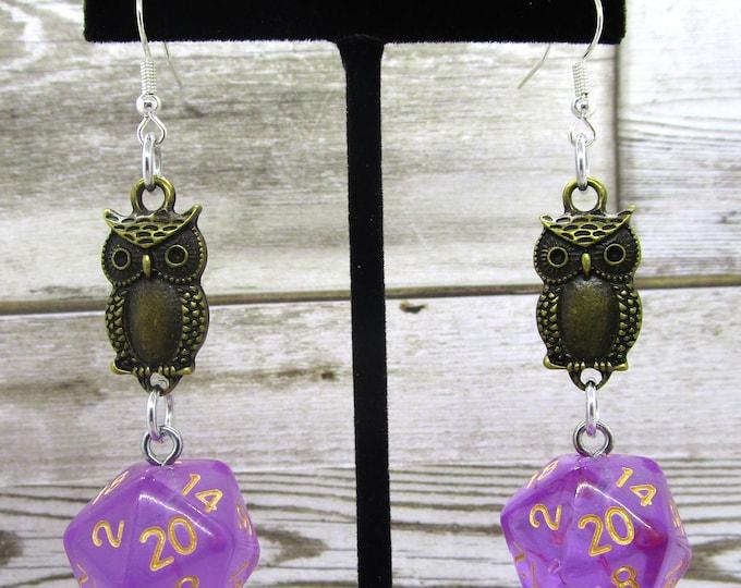 Ambrosia Bronze Owl Nat 20 Earrings - D20 Earrings - D&D Earrings - DND Earrings - Dice Earrings - Black  and Gold Dice
