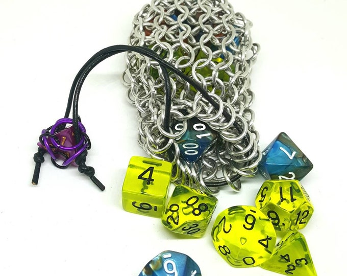 Silver Chainmaille Dice Bag -  Double Set Bag - Dice Pouch - Coin Purse - Chainmail