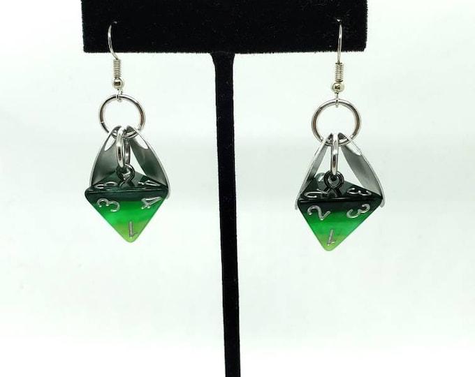 Wings of  the Leaf Sprite D4 Earrings - Dice Earrings - D&D Earrings - DND Earrings - DnD Dice