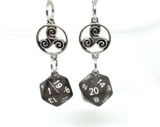Smoky Black Celtic Charm Nat 20 and Nat 1 Earrings - D20 Earrings - D&D Earrings - DND Earrings - Dice Earrings