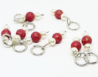 Faux Pearl and Red Crackle Beaded Stitch Markers