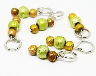 Green and Brown Beaded Stitch Markers