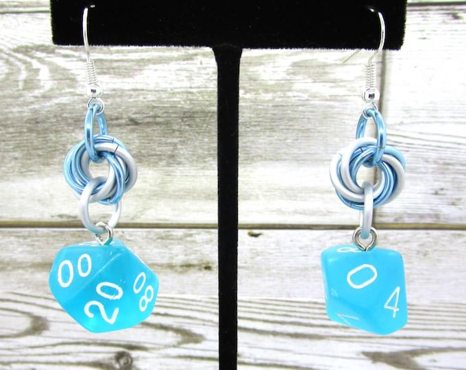Seaglass Blue Mobius Dice Earrings - D10 and D% Earrings - D&D Earrings - DND Earrings - DnD Dice