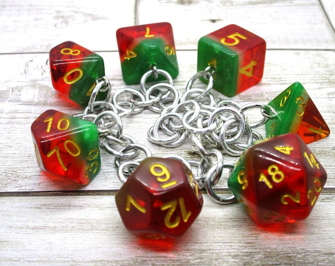 Watermelon Polyhedral Dice Set Charm Bracelet - Dungeons and Dragons  Dice - DnD Dice