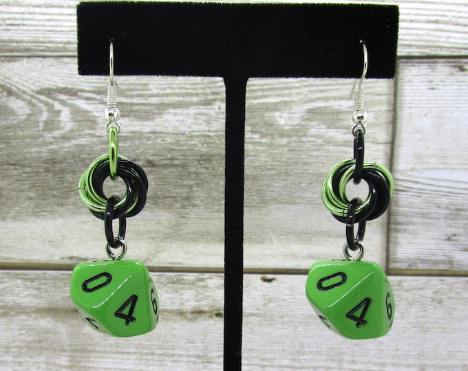 Opaque Grass Green Mobius Dice Earrings - D10 and D% Earrings - D&D Earrings - DND Earrings - DnD Dice