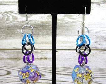 Violet Sulfur Shaggy Nat 20 Earrings - D20 Earrings - D&D Earrings - DND Earrings - DnD Dice - Dice Earrings - Shaggy loops chain
