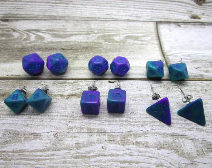 Teal  and Purple Swirl Mini Dice Post Earrings - Stud Earrings - 10mm - DnD Dice
