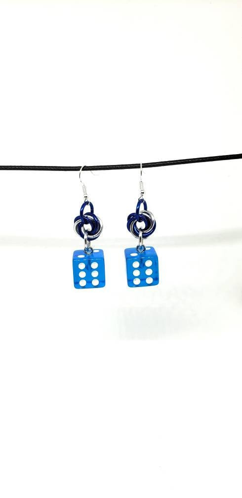 Translucent Blue and White Pipped Dice Earrings - D6