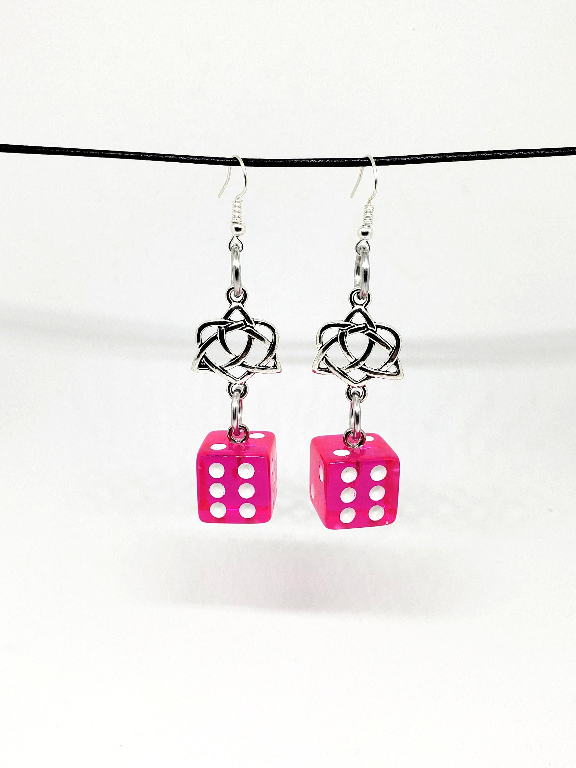 Translucent Hot Pink and White Pipped Dice Earrings with