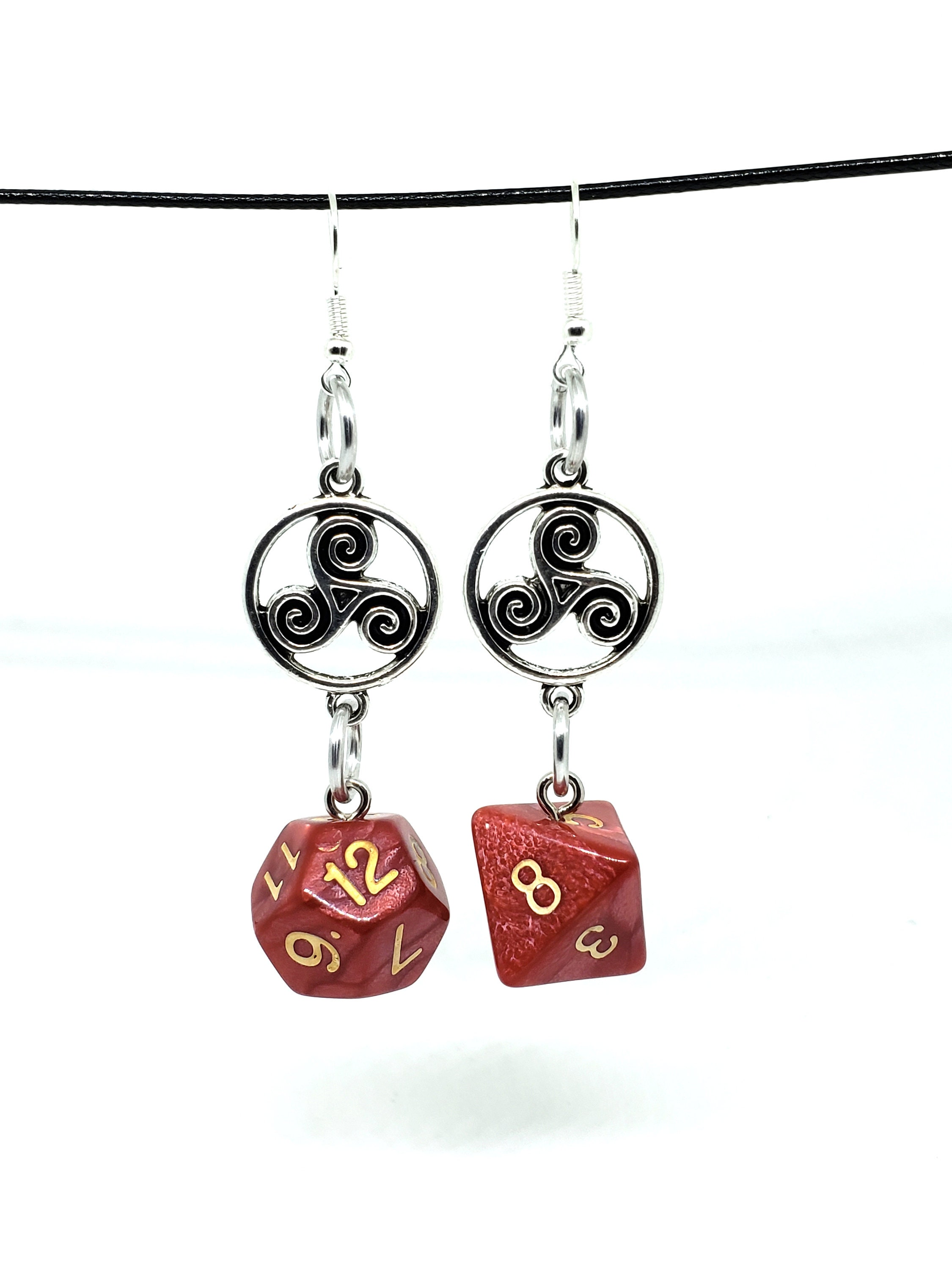 Dragonscale Red Celtic Charm Dice Earrings - D6 and D8
