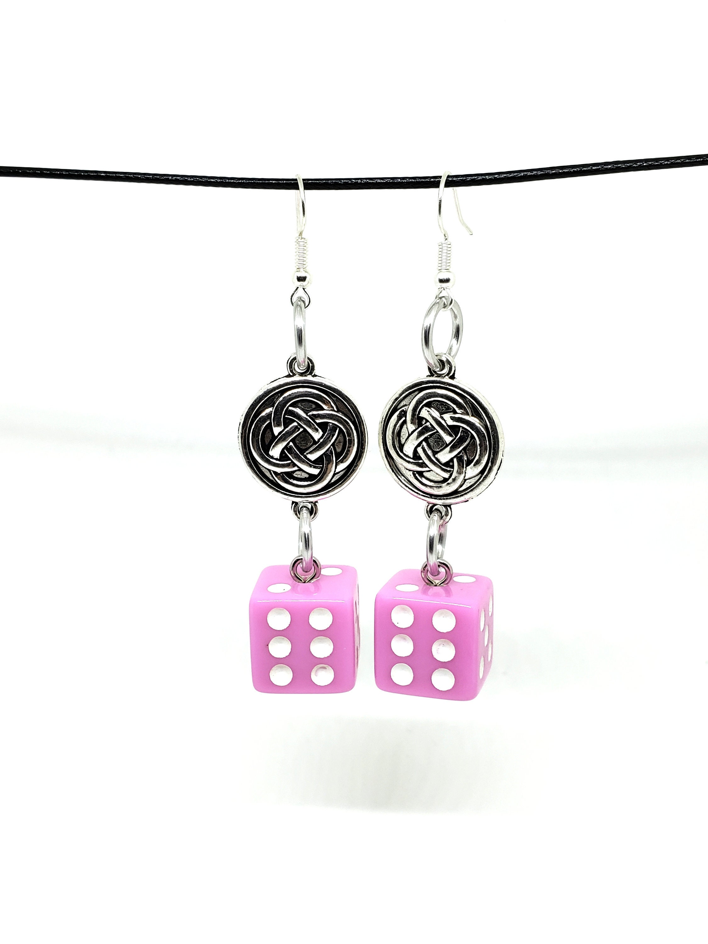 Baby Pink and White Pipped Dice Earrings with Celtic Charms