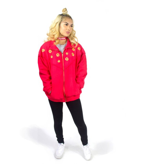 Authentic Vintage Retro Red EVR Bomber Jacket | 90
