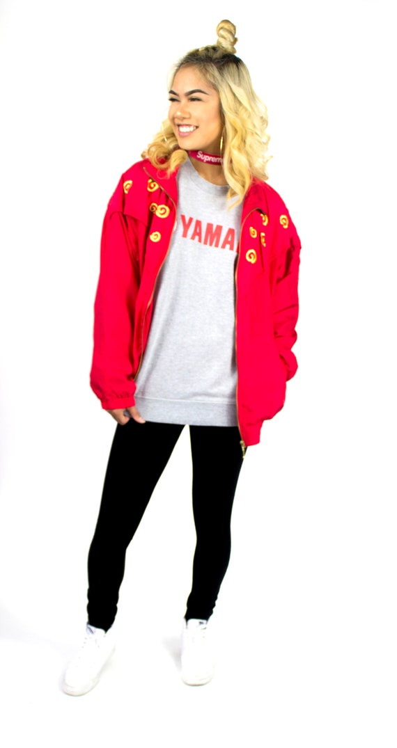 Authentic Vintage Retro Red EVR Bomber Jacket | 9… - image 2