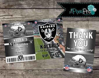 Football birthday invitation, Oakland Birthday invitation, Oakland Raiders birthday invitation, customizable team football invite, ANY TEAM