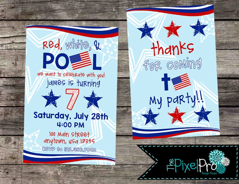 Red White And Pool Birthday Party Invitations
