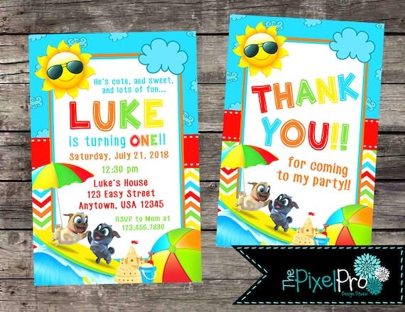 Puppy Dog Pals Birthday Party Invitations Pool