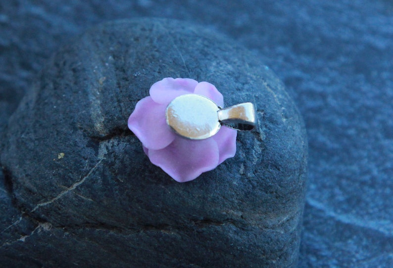 Small rose pendant Lilac rose handmade Floral jewelry Polymer clay pendant Chain necklace for women Gift for her Gift for women Silver chain