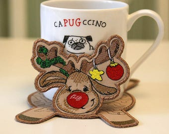 In The Hoop  Christmas Moose Coaster Embroidery Machine Design. Mug Mat Christmas Moose Design. Digital Design