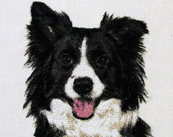Collie Profile Vintage Framed Embroidery Handmade