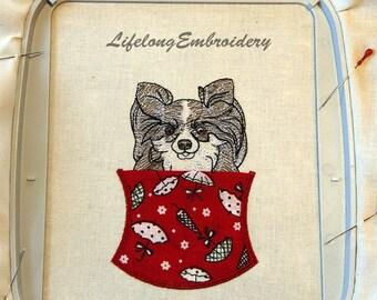 A Digital Machine Embroidery Chihuahua Long Hair  Pocket Design.