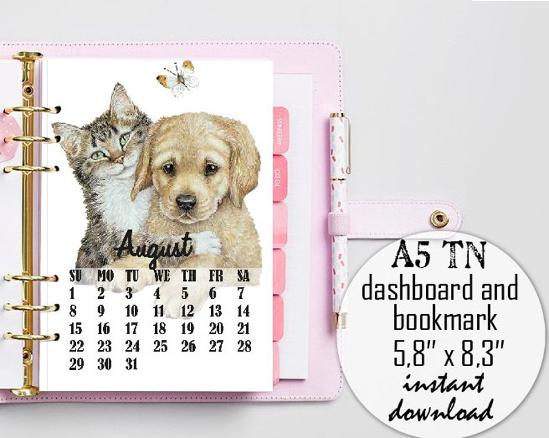 Dog and Cat Desk Calendar/4x6 2021 Printable Calendar ...