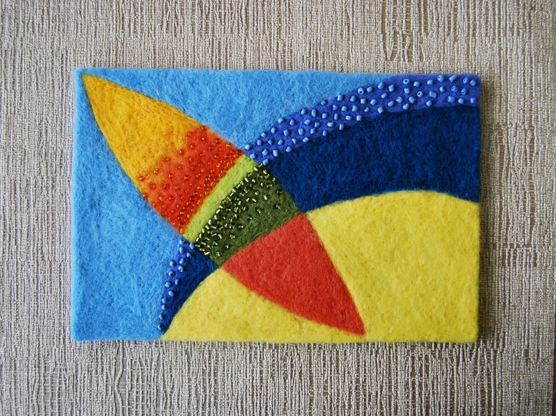 Abstract Bright geometric paintingWool ArtNeedle Felted PaintingHandmade Abstract Wool PaintingUnique Contemporary felted wool painting