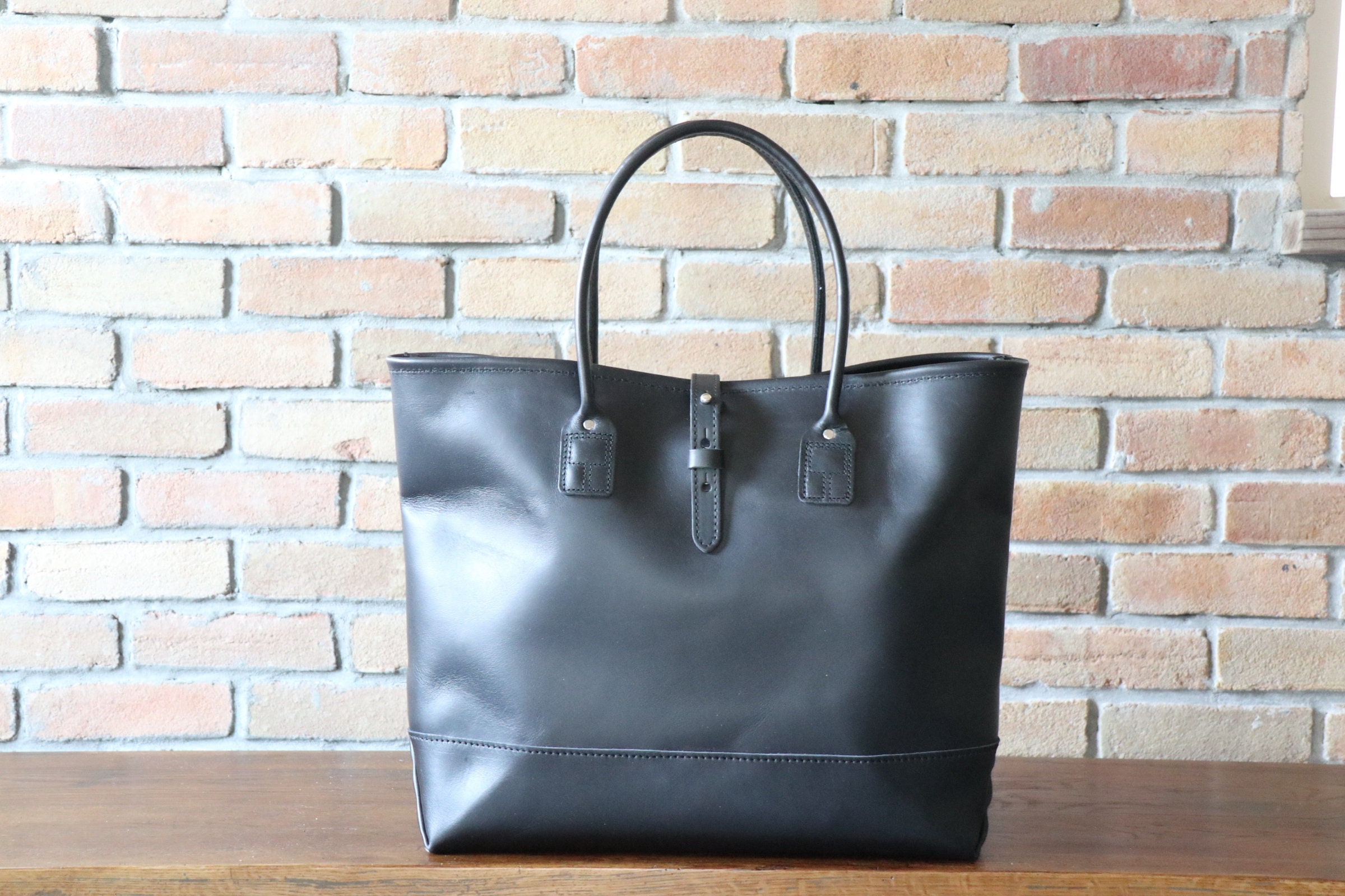 Leather Tote  Black All Leather Bag Mens Tote Daily Use  c4d09072711e1