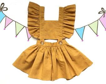 Sommer Dress Flutter Sleeve Baby Sundress 1-5 yrs Vintage style blue white stripe Organic 100/% Cotton