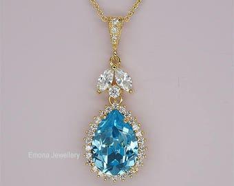 Bridesmaid Necklace Blue Wedding Necklace, Bridesmaid Gifts, Swarovski Aquamarine Crystal Jewelry, Teardrop necklace wedding