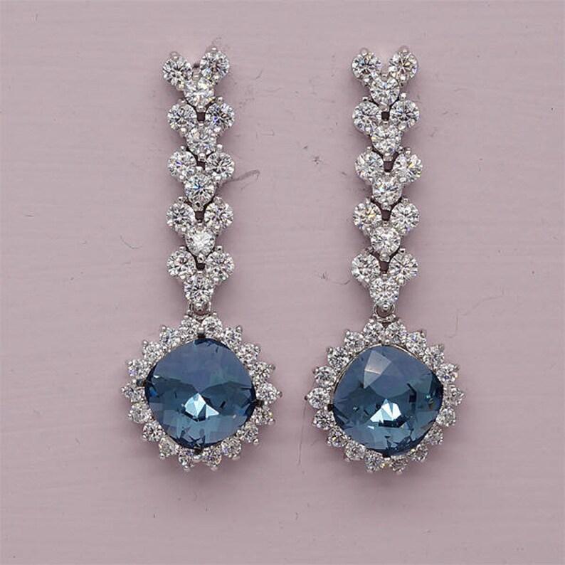 21c9b1a90b144 Navy Blue earrings,Navy blue crystal drop earrings, Navy Bridesmaid gift,  Swarovski Crystal Bridal earrings, Rhinestone Wedding Earrings