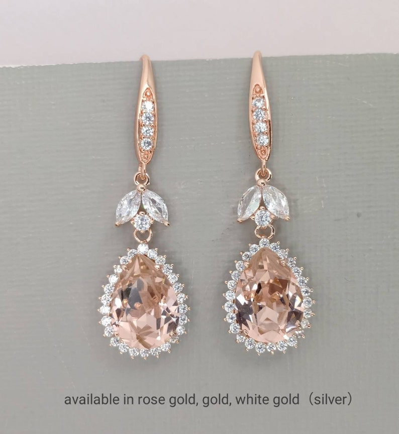 86a0f73c5cb36 Blush Wedding Earrings, Blush Earrings, Pink Wedding Jewelry for Brides,  Rose Gold Earrings, Silver Bridal Jewelry, Pink Crystal Earrings