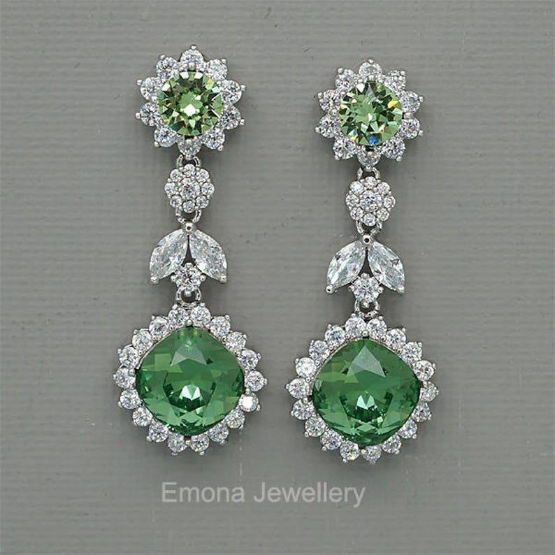 33e19a19a Olive Green Earrings Green Bridal EArrings Erinite Green | Etsy