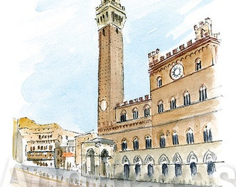 Siena Italy / art print from an original watercolor painting