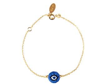 Embroidered bracelet blue eye