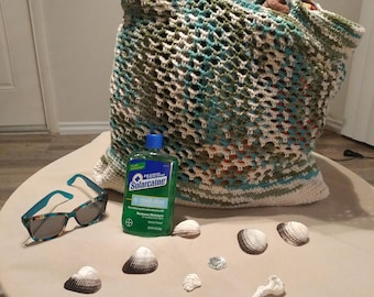 Extra Large Green & Blue Beach Tote