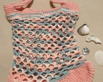 Small Pink & Blue  Beach Bag