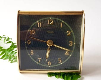 Antique Kienzle Alarm Clock, Gold Travel Alarm Clock Made in Germany