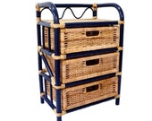 Wicker Stand with 3 Drawers - Blue Boho Rattan Side Table - Vintage Bohemian Nightstand - Dark Blue End Table