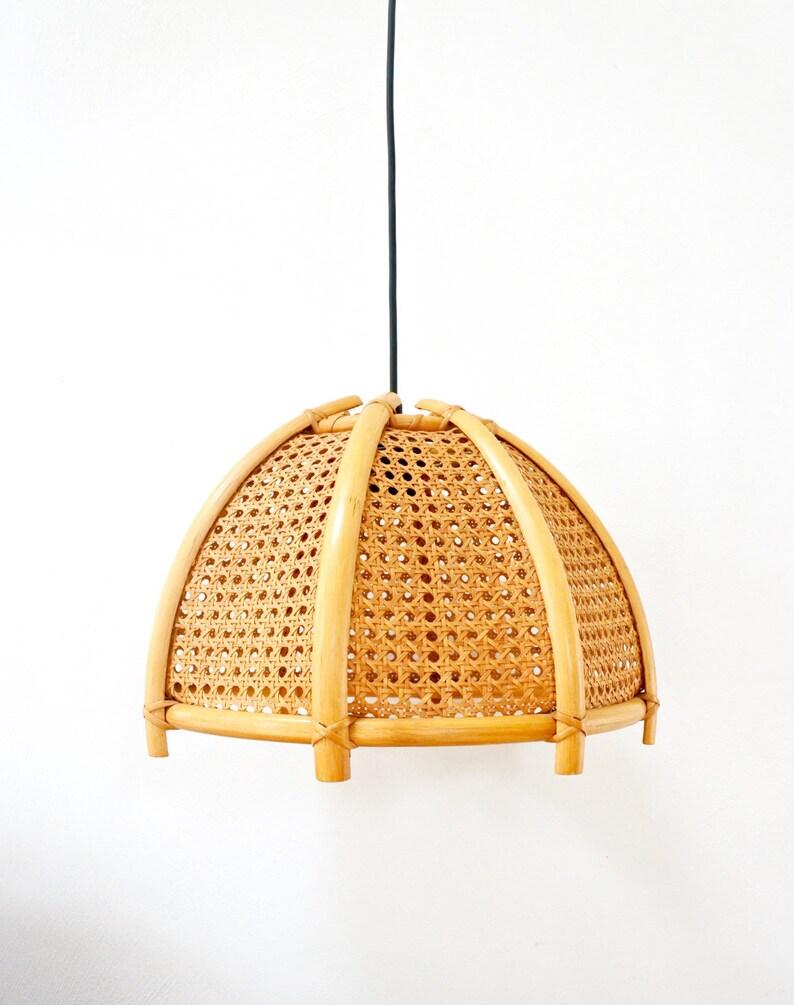 Boho wicker ceiling light vintage rattan pendant light mid century hanging lamp