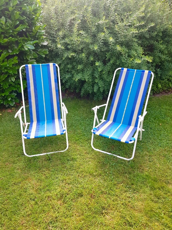 Awe Inspiring Set Of Vintage Sun Chairs Striped Beach Chairs 50S Camping Outdoor Lounge Chair Retro Garden Stools Caraccident5 Cool Chair Designs And Ideas Caraccident5Info