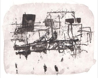 Monochrome giclee fine art print, modern black and white print, abstract drawing, watercolor print, wall art, abstract print, hand drawing