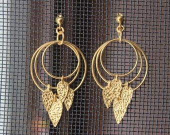 18k Gold Plated Leafy Drop Earrings in 925 Sterling Silver Floral Leafy dangler Earrings