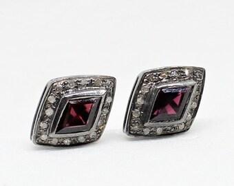 Garnet Stud Earrings, Red Stone Studs, Pave Diamond Studs, 925 Silver Studs, Sterling Silver Studs, Black Rhodium Earrings