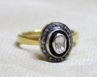 Polki Diamond Ring, Rose Cut Diamond Ring, Oval Diamond Ring, 925 Silver Ring, Sterling Silver Ring, 14k Gold Plated Ring, Natural Diamond