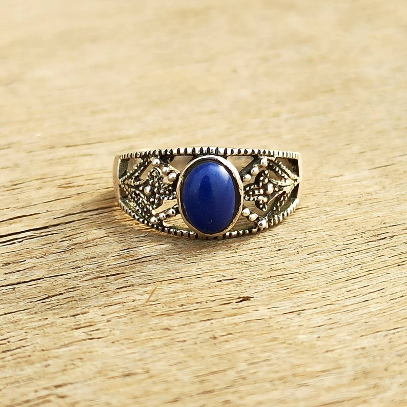 Blue Stone Ring Oxidised Silver Ring Natural Lapis Lazuli Ring Bohemian Jewelry Real Silver Engagement Ring 925 Sterling Silver Ring